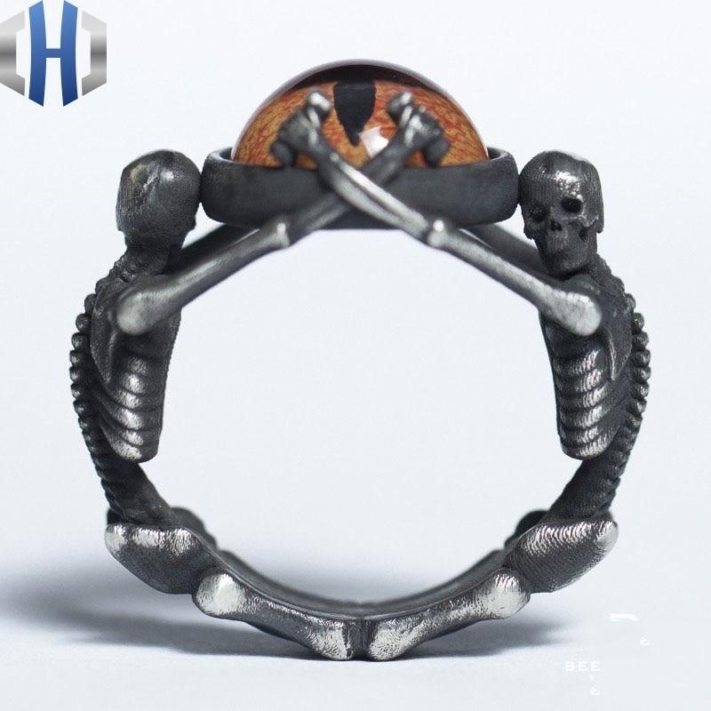 Bague en verre argenté fait main Design Original bague en forme d'oeil en argent 925