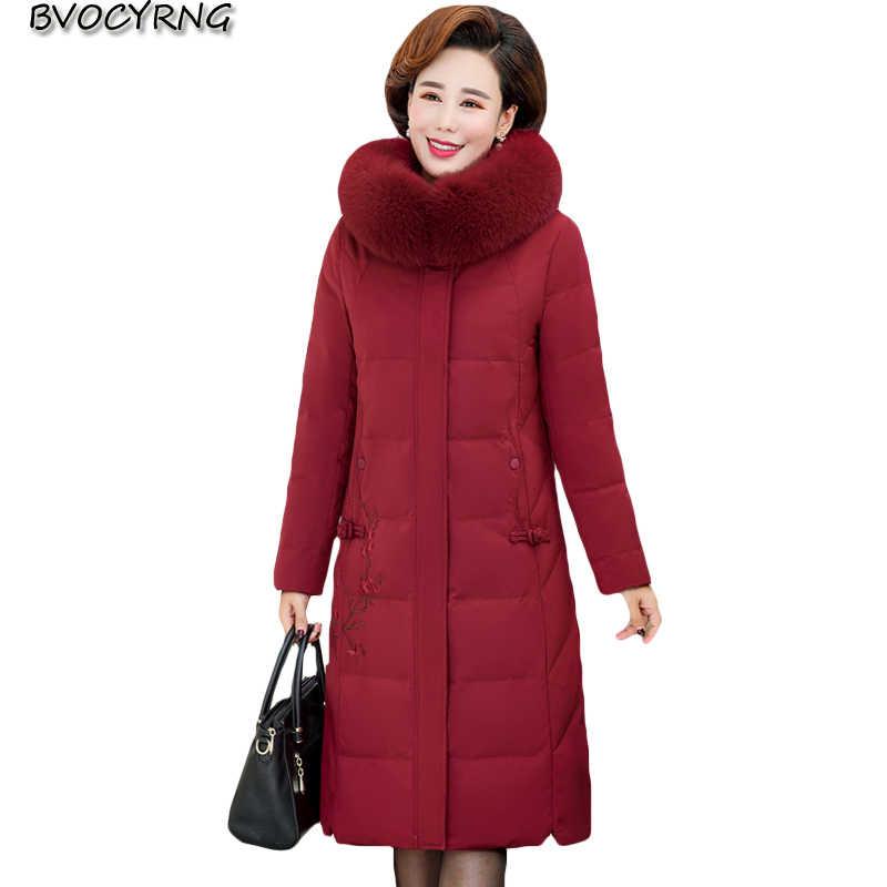 Высококачественная куртка-Пуховик среднего возраста, пальто, женские зимние толстые топы для мам, 2019 новинка, с капюшоном, плюс размер, тонкая куртка, теплая парка