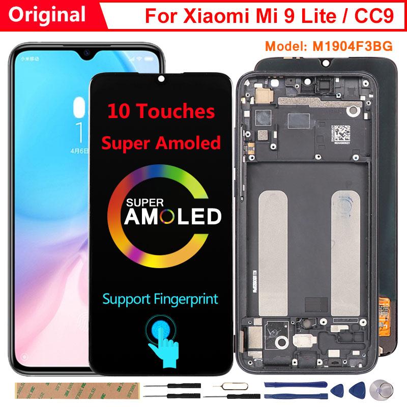 Оригинальный Amoled-дисплей для Xiaomi Mi 9 Lite, ЖК-дисплей с 10 контактами, замена экрана, поддержка отпечатков пальцев для Mi9 Mi 9 Lite M1904F3BG