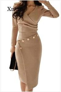 Image 3 - Женское асимметричное платье средней длины, повседневное однотонное платье с разрезом, украшенное бусинами, на пуговицах, для офиса и вечеринок, 2020