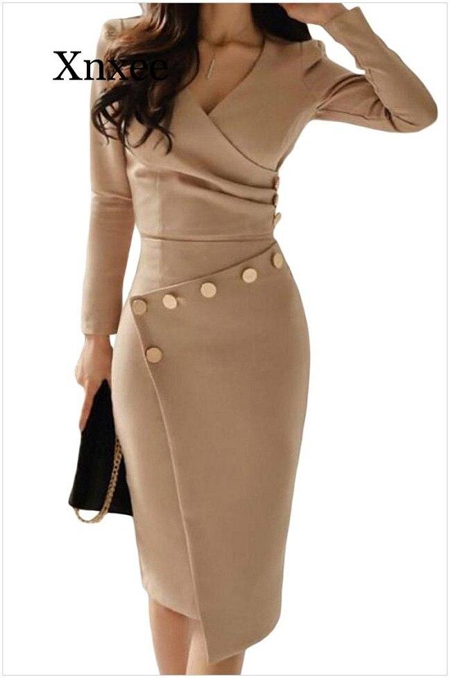 Image 4 - 2020 Women Elegant Casual Office Look Workwear Slit Party Dress  Solid Button Beading Embellished Slit Irregular Midi DressDresses   -