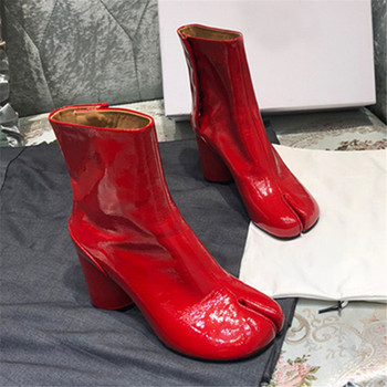 цена на Split Toe Genuine Leather Ankle Boots Women Round Chunky High Heels Short Boots Shoes Ninja Tabi Boots