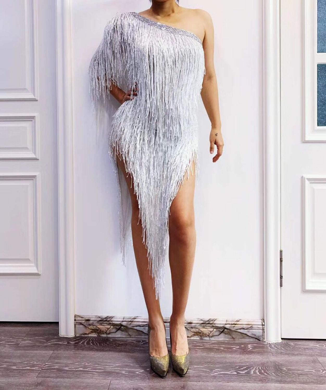 High Quality White One Shoulder Tassel Nightclub Party Dress High Elasticity Dress Dancer Costumes