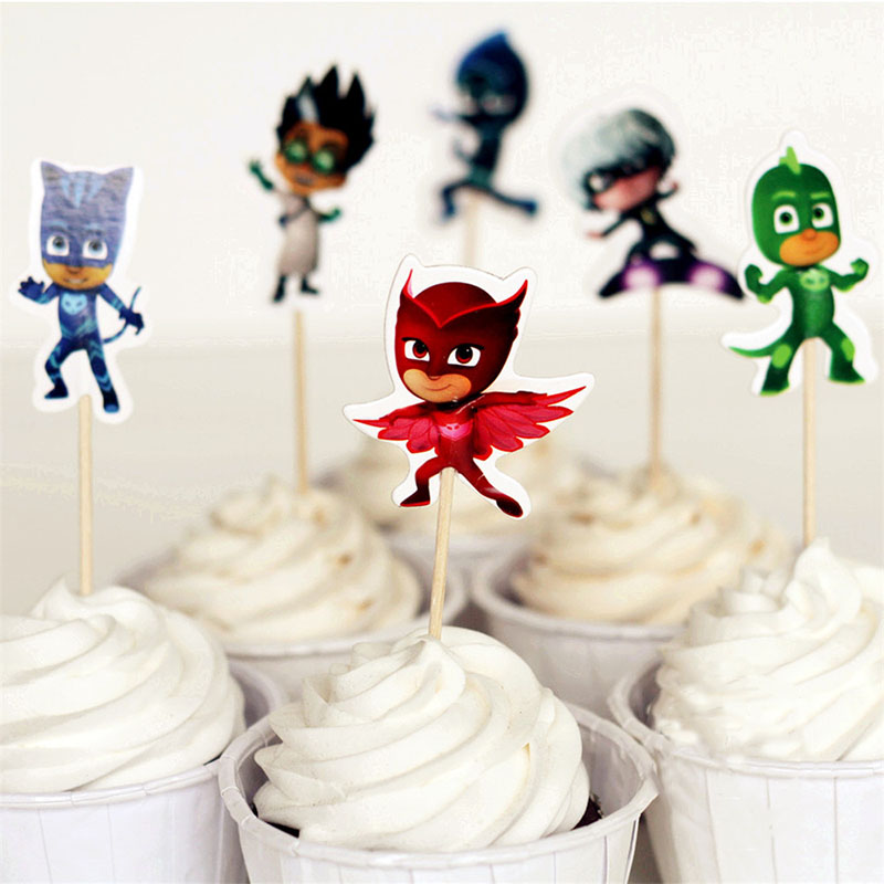 NEW 24pcs/set Pj Masks Anime Figures Cake Card Fruit Plug-in Kids Birthday Party Supplies Plugin Pj Mask Decoration