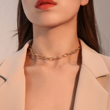 Fashion Link Chain Choker Necklace For Women  Collar Necklace Collares Jewelry Punk Style Alloy O-chain Chains Necklaces punk style alloy hollow out body chain for women