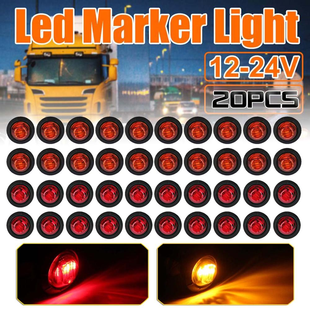 20PCS 12V <font><b>24V</b></font> <font><b>LED</b></font> Side Marker Lights Parking lights Warning Tail <font><b>Lamps</b></font> Auto Lorry Trailer Light Amber Red <font><b>Truck</b></font> Accessories image