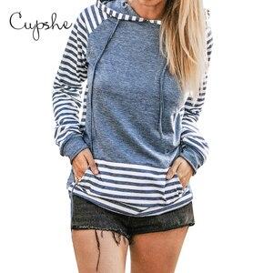 Image 3 - CUPSHE Blockiert und Striped Hoodie Frau Casual Langarm Sweatshirts Pullover Tops 2019 Frühling Herbst Weibliche Sportkleidungen