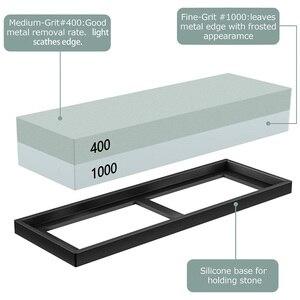 Image 2 - Набор точильных камней, точильный камень 2 в 1, зернистость 400/1000 3000/8000, деревянный держатель с водяным камнем и направляющая для ножей включены