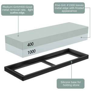 Image 2 - Sharpening Stone Set, Whetstone 2 IN 1 400/1000 3000/8000 Grit, Waterstone Wooden Holder and Knife Guide Included