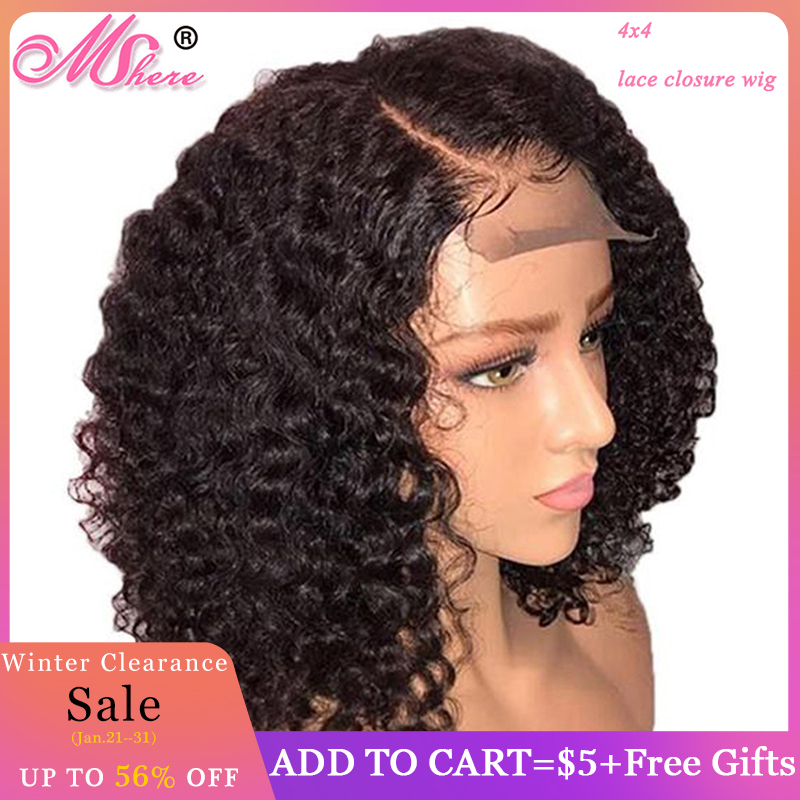 Mshere Short Curly Human Hair Wigs Brazilian Bob 4x4 Lace Closure Wigs For Black Woman 150% Pre Plucked With Baby Hair Remy Hair