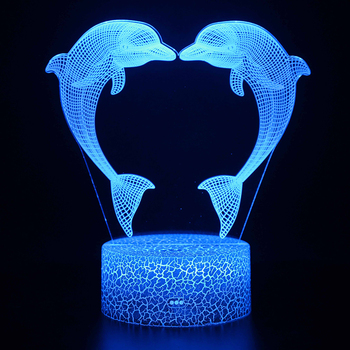 Action Figure 3D RGB Lamp dolphin light Gift Night Light LED 7 Color