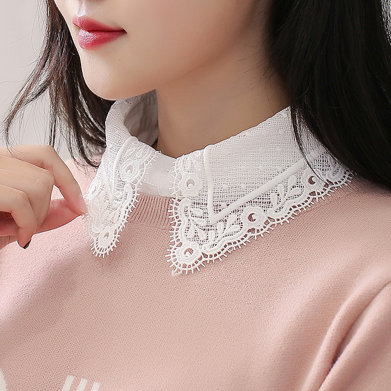 Korean Style White Fake Collar Ladies Blouse 2019 Autumn Lace Turndown Collar Winter Elegant Women Fake Half Shirt Detachable