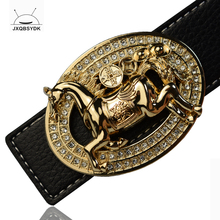 JXQBSYDK Luxury Belts for Men Fashion Personality Horse Buckle Designer High Quality Leather