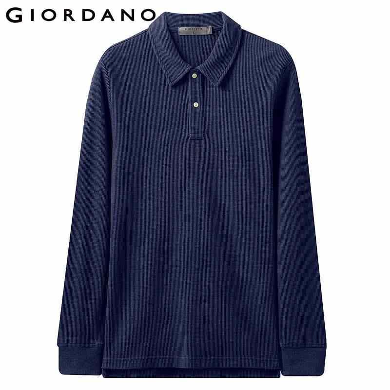 Giordano Homens Camisa Pólo Waffle Padrão Longo-luva Camisa Pólo Homens de Espessura Sólida Divisão Hem Camisa Polos Hombre Pará polo 01019783