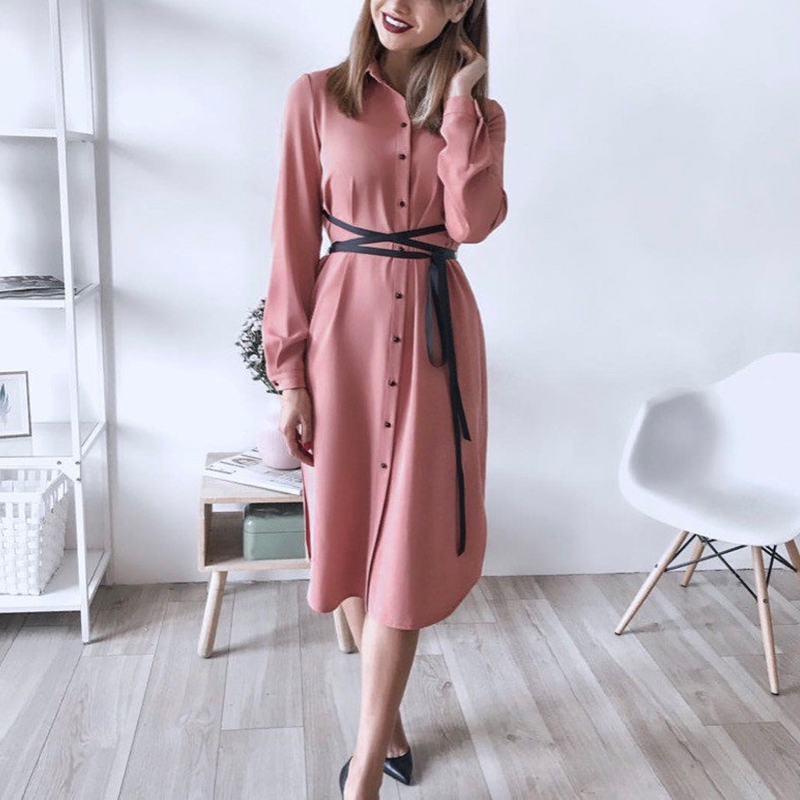 Women Vintage Front Button Sashes A-line Dress Long Sleeve Turn Down Collar Solid Elegant Office Lady Dress 2019 Autumn Dress