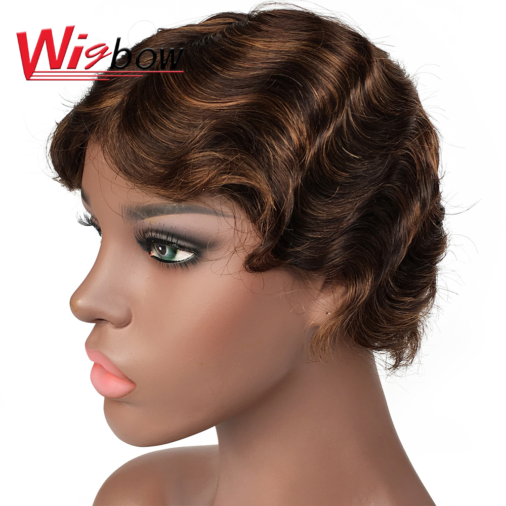 Short Ocean Wave Pixie Cut Wig Full Machine Short Human Hair Wigs Natural/99j/F4/30 Color Finger Wave Wigs