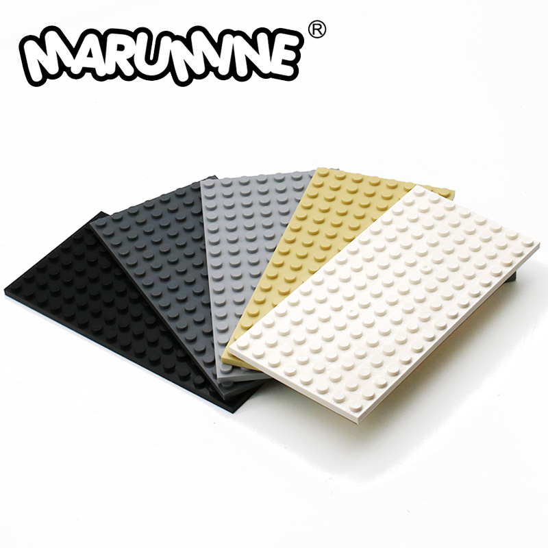 MARUMINE 8x16 Dots Base Plate Particles Building Blocks 92438 Bricks Set DIY Classic Educational Toys For Boys Girls