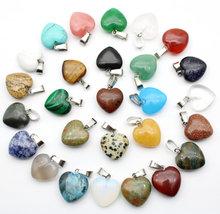 Pendentif en pierre naturelle 16mm en forme de cœur, breloques en opale/Malachite, agates en cristal pour la fabrication de colliers, boucles d'oreilles, vente en gros