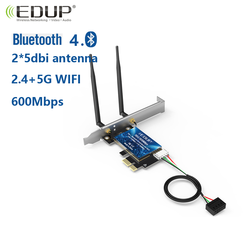 EDUP 600Mbps AC600 Desktop PCI-E Wifi Adapter Card 2.4Ghz//5Ghz 802.11ac BT4.0