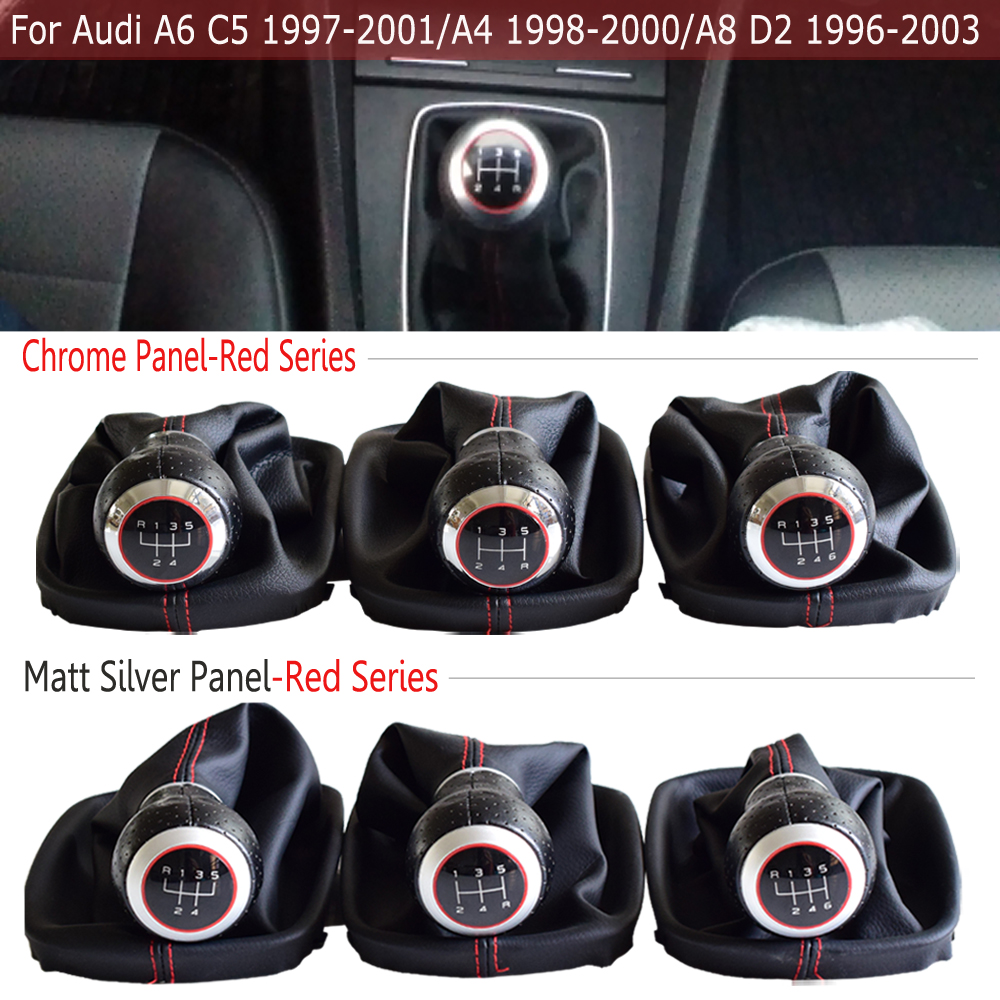 Car Accessories For <font><b>Audi</b></font> A6 C5 (1997-2001)/A4 (1998-2000)/<font><b>A8</b></font> <font><b>D2</b></font> (1996-2003) New 5/6 Speed MT Gear Shift Knob Lever Gaiter Boot image