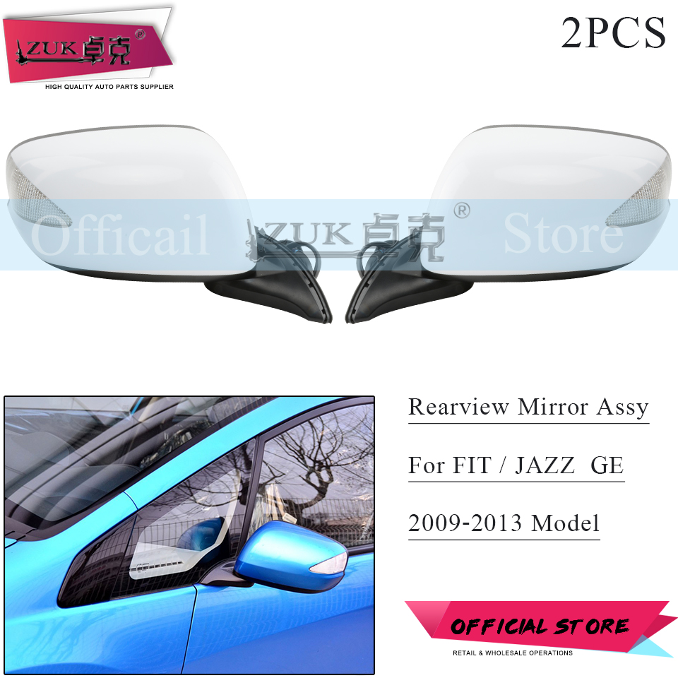 ZUK Pair Outer Rearview Door Mirror Assy For HONDA FIT JAZZ GE6 GE8 2009 2010 2011 2012 2013 2014 7-PINS Electric Folding LED