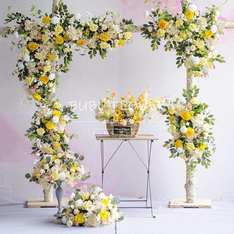 2020 mariage fleur Arrangement jaune série fond fleur rangée haute qualité soie fleurs décoration concepteur recommander
