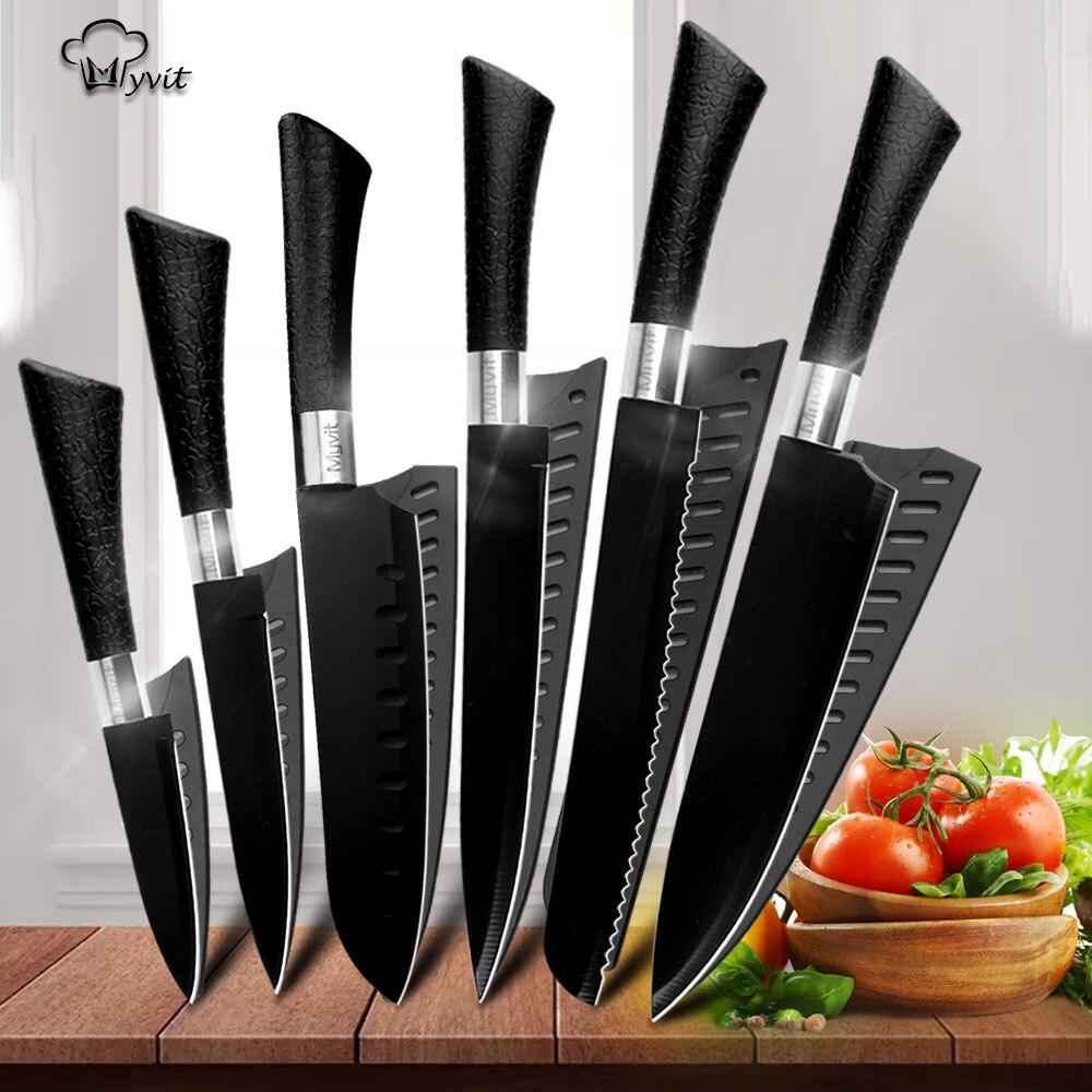 Cuchillos de Chef, cuchillos de acero inoxidable, herramientas, cuchilla negra, herramienta de pelado, Santoku Chef, rebanador de pan, conjunto de accesorios de cocina, herramientas