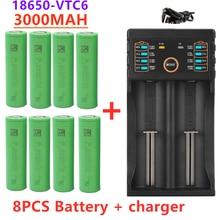 2/4/6/8 pçs novo original 3.7 v 3000 mah 18650 bateria para us18650 sony vtc6 30a brinquedos ferramentas lanterna bateria + carregador usb