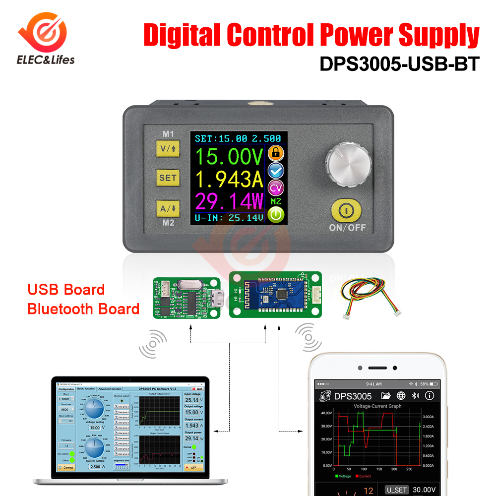 DPS3003 DPS3005 DPS5005 Communication Function Constant Voltage Current Step-down Power Supply Module LCD Voltmeter 32V 50V 5A