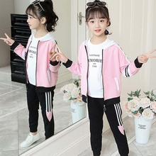 Girl clothes autumn winter hooded jacket pants two piece warm sportswear 2020 hot sale 4 12 years old children quality clothing