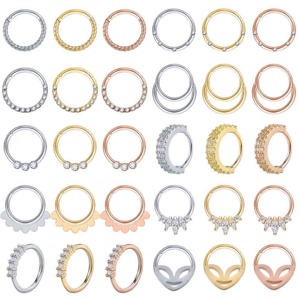 Aoedej aço inoxidável clicker segmento 20g nariz anéis articulados de cristal orelha nariz septo piercing feminino jóias do corpo dos homens