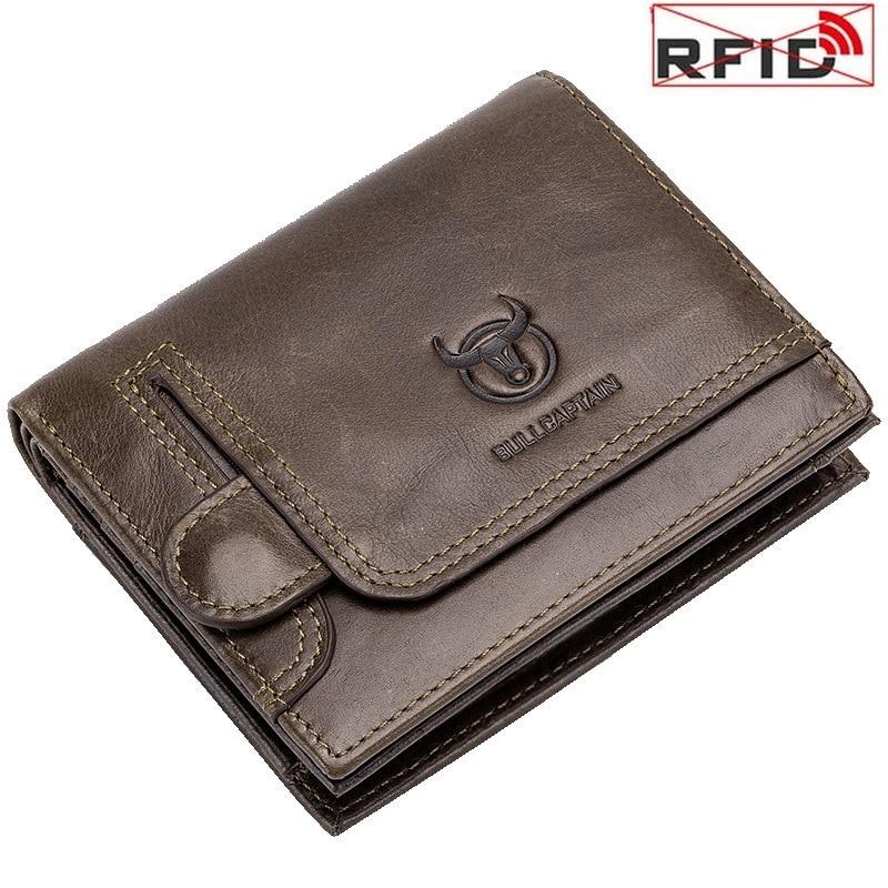 Men's Wallets Purses Anti Theft RFID Wallet Card Holder ID Package Short Vertical Vintage Genuine Leather Wallets Men Money Bag