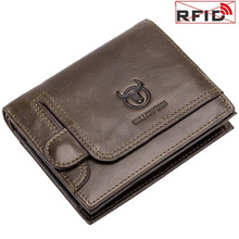 Portfele męskie portfele z zabezpieczeniem przeciw kradzieży RFID etui z miejscem na karty ID pakiet krótki pionowy Vintage oryginalne skórzane portfele męskie portfel tanie tanio Prawdziwej skóry Skóra bydlęca CN (pochodzenie) 120G 11 5cm Genuine Leather Stałe QBQ01 Wnętrze slot kieszeń Wewnętrzna kieszeń