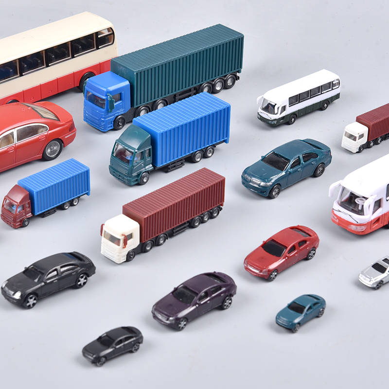 2pc/10pcs/50pcs Model <font><b>car</b></font> Truck Bus 1:75 <font><b>1:100</b></font> 1:150 1:200 Building Train Layout Set model train HO/TT/N scale railway modeling image