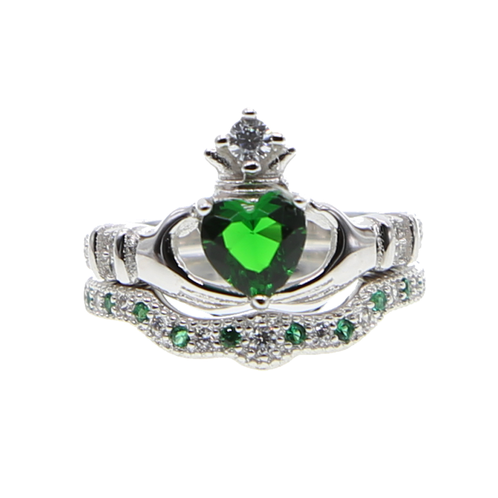 925 Sterling Silver Factory Wholesale Wedding Engagement Heart Irish Claddagh Promise Ring Set