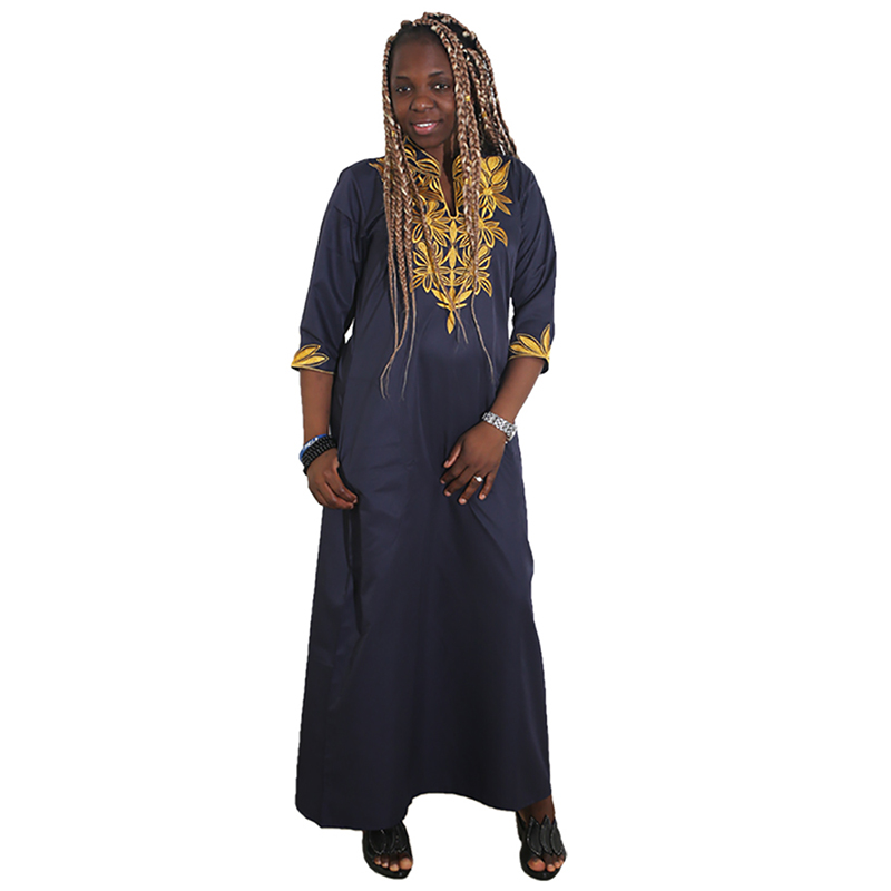 MD African Dresses For Women 2019 New Africa Clothes Gold Embroidery Plus Size Dress Women Wedding Party Dresses Ladies Clothing