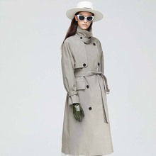 Women's Casual Trench Coat Oversize Double Breasted Vintage Outwear Sashes Chic Cloak Female Sashes Windbreaker vintage british detective cat women neko paw print tie double breasted brown cape cloak cute preppy style lolita outwear winter