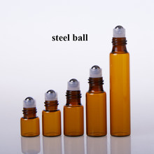 2pcs/5pcs1ml 2ml 3ml 5ml 10ml Amber Glass Roll on Bottles Sample Test Doterra Essential Oil Containers Vials with Roller Ball