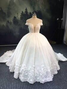 Bridal-Dress Wedding-Gown Beaded Crystal Robe-De-Soire De-Mariage Dubai Off-Shoulder