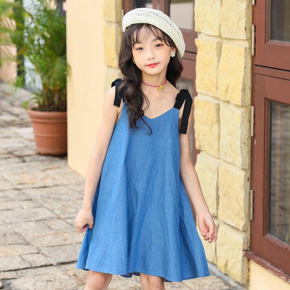 Nuevo 2020 vestidos de verano para niñas, vestido de tirantes con personalidad para niños, Vestido de playa para niños, Vestido vaquero para niñas, #9025