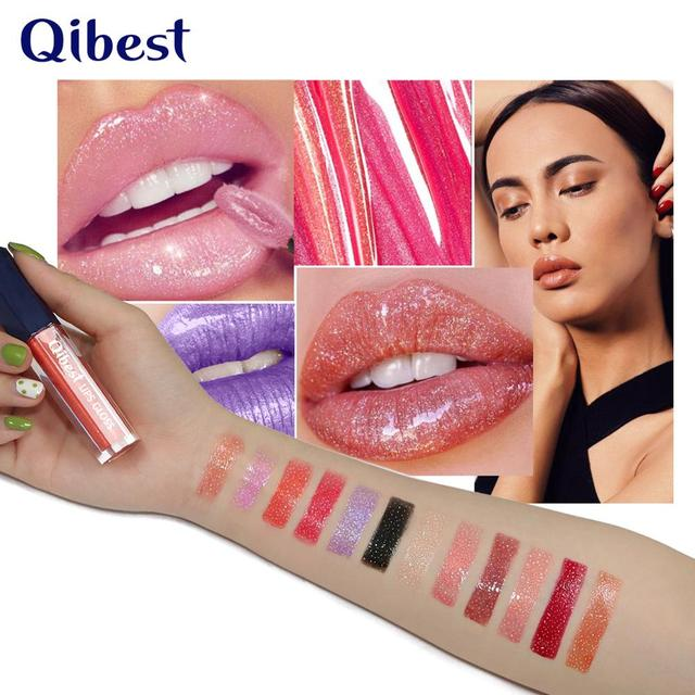 Qibest 12Color Shimmer Lip Gloss Long Lasting Glitter Lipgloss Waterproof Liquid Lipstick Moisturizer Lip Gloss Makeup Lip Tint 1