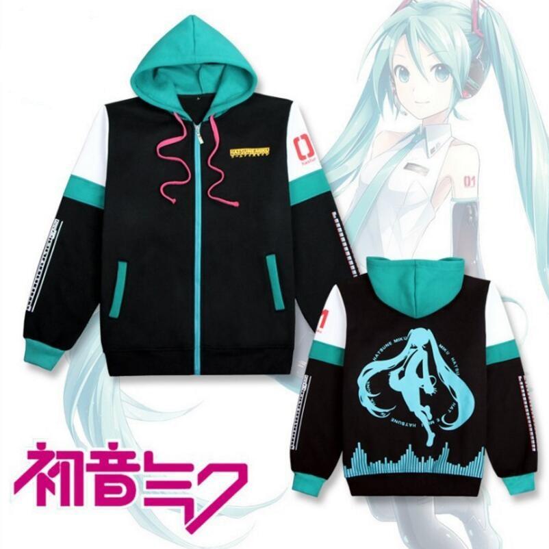 Anime Hatsune Miku Cosplay Costume Sweatshirts Hoodies Women Top Coat Jackets New