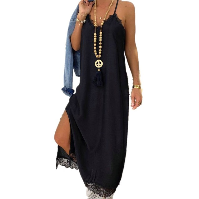 Sexy Black Lace Patchwork Strap Maxi Dress V Neck Sleeveless Side Split Women Summer Dresses Casual Beach Dress Loose Robe Femme 2