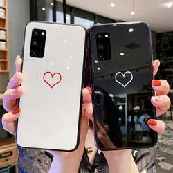 На Алиэкспресс купить стекло для смартфона for huawei honor play 4t pro 3 case blank heart line hard tempered glass back silicone cover for honor play 3 4t magic 2 casing