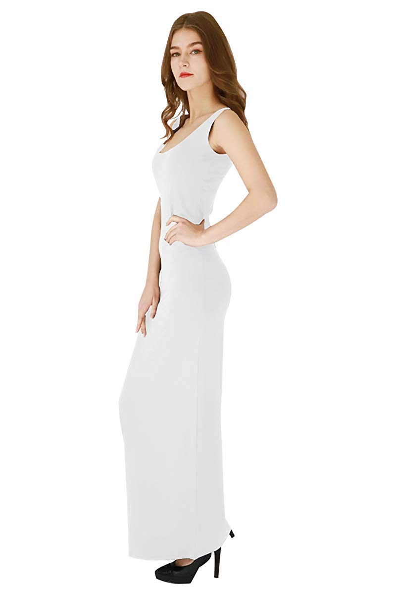 MJT5582 Women's Casual Long Dress Simple Tank Solid Color Sleeveless Maxi Dress