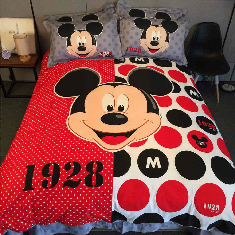 Дисней Микки Маус постельные принадлежности набор для детей кровать Декор king size пододеяльник покрывало простыня 4 шт. мультфильм хлопок Горячая Распродажа