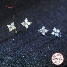 925 brincos de prata esterlina flor coreano pequeno fresco cristal zircon brincos para a menina quatro folhas brincos de sorte jóias