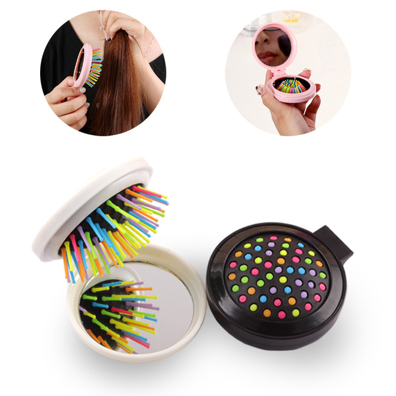 1 PC New Makeup Comb Hair Brush Styling Tool Portable Mini Folding Comb Airbag Massage Round Travel Hair Brush With Mirror