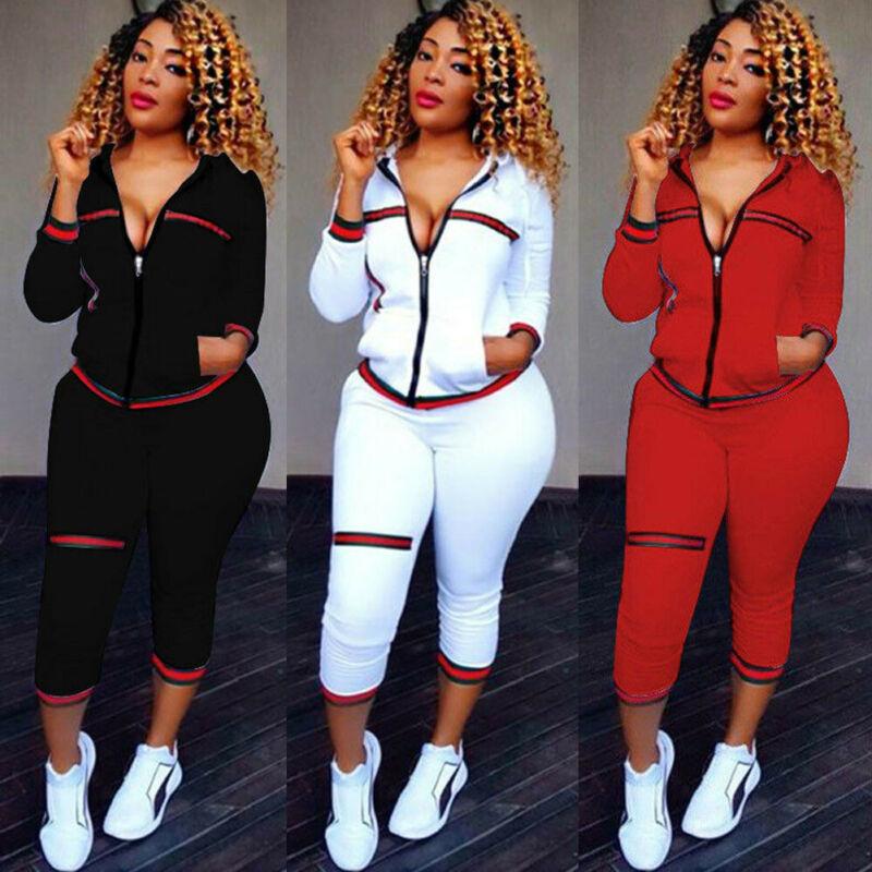 2019 Autumn Women's Sportswear 2pcs Women's Hooded Long Sleeve Zip Crop Tops Long Pants Trousers Loose Casual Clothes Set