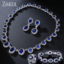 ZAKOL Exquisite Oval Blau Zirkonia Surouded Micro Inlay Schmuck Set Mit Luxus Weiß Farbe Für Brautjungfer Schmuck FSSP018(China)